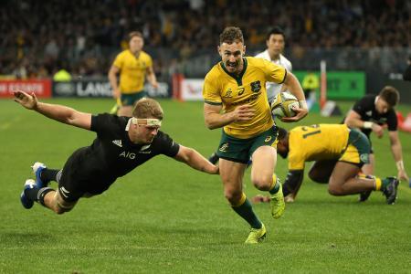 ラグビーの南半球4カ国対抗のニュージーランド戦で、トライを決めるオーストラリアのホワイト=パース(ゲッティ=共同)