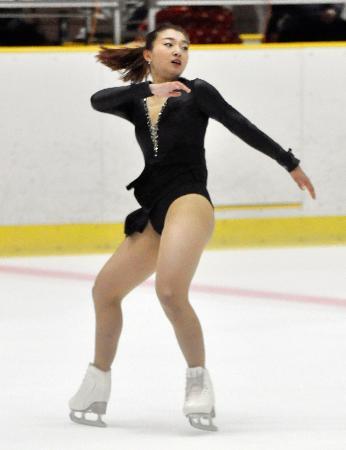 女子フリーで演技する坂本花織=滋賀県立アイスアリーナ