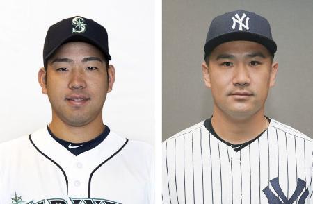 マリナーズの菊池雄星投手(左)、ヤンキースの田中将大投手