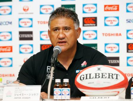 ラグビーW杯日本大会の代表選手の発表記者会見に臨むジェイミー・ジョセフ・ヘッドコーチ=29日午後、東京都千代田区のホテル
