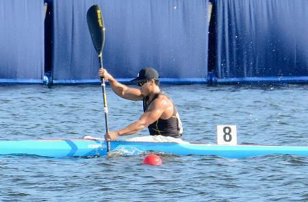 男子カヤックシングル1000メートルに出場した水本圭治=海の森水上競技場