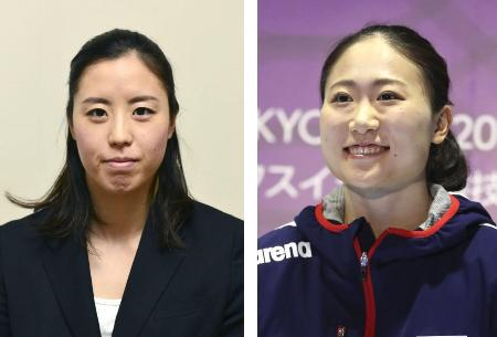 アーティスティックスイミングの東京五輪代表に決まった乾友紀子(左)、吉田萌