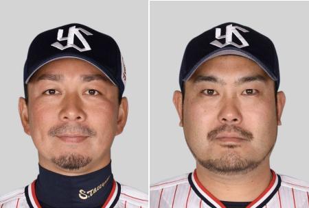館山昌平投手(左)、畠山和洋内野手