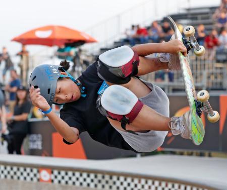 スケートボード・パークの世界選手権に向け、調整する岡本碧優=サンパウロ(共同)