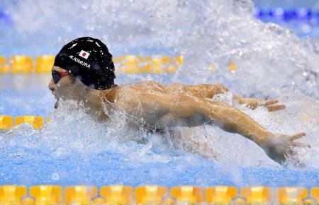 男子100メートルバタフライ(視覚障害S11)決勝 金メダルを獲得した木村敬一=ロンドン(共同)