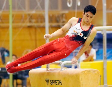 試技会であん馬の演技をする谷川航=味の素ナショナルトレーニングセンター