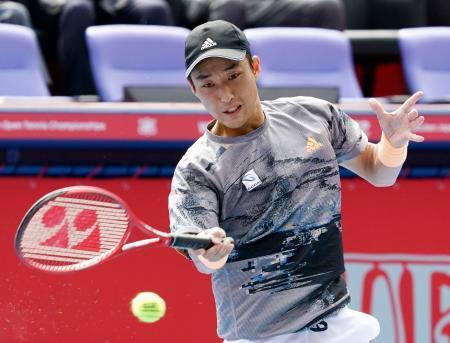 シングルスで2回戦進出を決めた添田豪=有明テニスの森公園