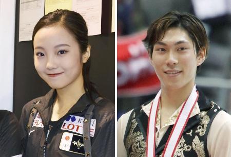 フィギュアスケートの本田真凜選手、田中刑事選手