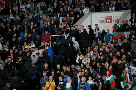 欧州選手権予選、ブルガリア対イングランド戦の観客席=14日、ソフィア(AP=共同)
