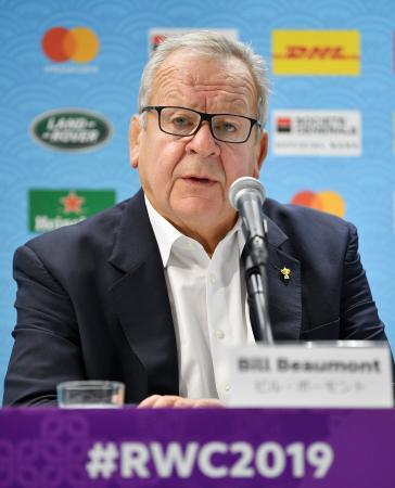 ラグビーW杯日本大会を終え、記者会見するワールドラグビーのビル・ボーモント会長=3日、東京都内