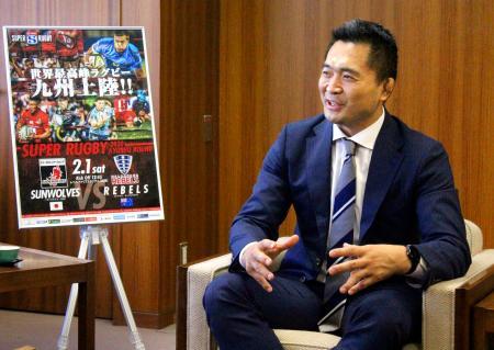 福岡市を表敬訪問したサンウルブズの大久保直弥ヘッドコーチ=8日、福岡市役所
