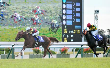第44回エリザベス女王杯を制したラッキーライラック(左)。右は2着のクロコスミア=京都競馬場