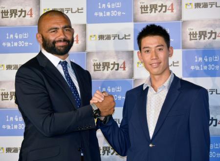対談したラグビー日本代表主将のリーチ・マイケル(左)とテニスの錦織圭=30日、東京都内