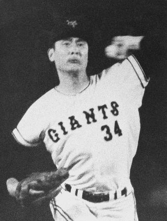 故金田正一さん。1969年、巨人で通算400勝を達成=後楽園球場