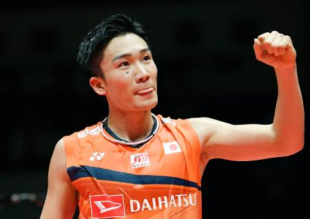 男子シングルス準決勝で台湾選手に勝利した桃田賢斗=広州(共同)