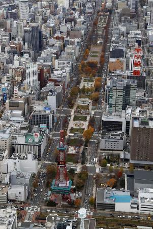 札幌市中心部の大通公園。中央下はさっぽろテレビ塔=11月