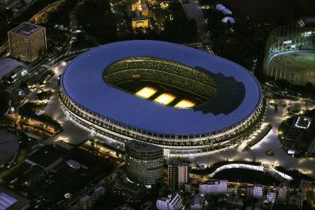 2020年東京五輪・パラリンピックのメインスタジアムとなる新国立競技場=11月30日