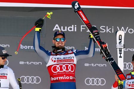 アルペンスキーW杯男子滑降第4戦、今季2勝目を挙げたドミニク・パリス=28日、ボルミオ(ゲッティ=共同)