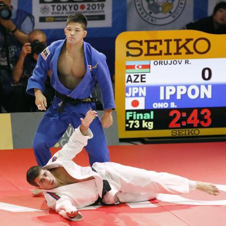 柔道の世界選手権男子73キロ級で優勝した大野将平=2019年8月、日本武道館