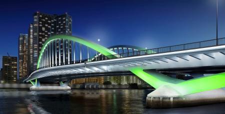 築地大橋のライトアップのイメージ(東京都提供)