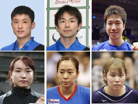 卓球東京五輪代表を発表 (上段左から)張本智和、丹羽孝希、水谷隼(下段左から)伊藤美誠、石川佳純、平野美宇