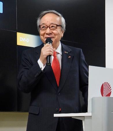 年始の会であいさつする日本スポーツ協会の伊藤雅俊会長=7日、東京都内