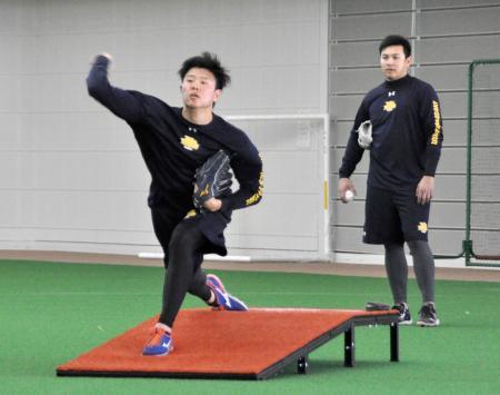 投球練習するDeNA・上茶谷。右は山崎=沖縄県宮古島市