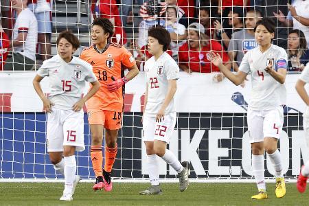 日本―米国 前半、米国に先制を許した(左から)田中、GK山下ら日本=フリスコ(共同)