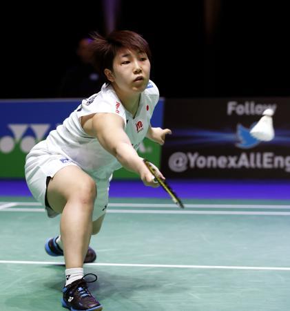 女子シングルス2回戦で高橋沙也加を破り、東京五輪出場を確実にした山口茜=12日、英国・バーミンガム(共同)