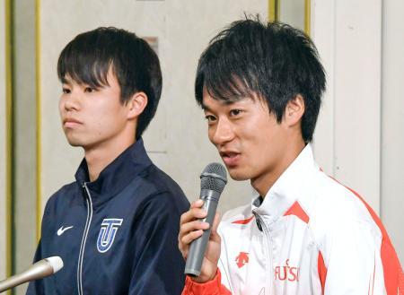 全日本競歩能美大会を前に記者会見する高橋英輝(右)と池田向希=14日、石川県小松市