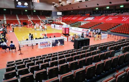 新型コロナウイルスの影響で無観客となった、バスケットボール男子Bリーグの千葉―宇都宮の試合=14日、千葉県船橋市総合体育館