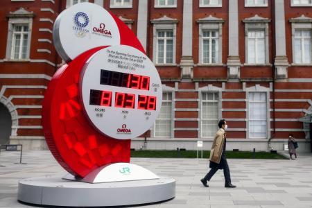 東京五輪へのカウントダウン時計=16日(ロイター=共同)