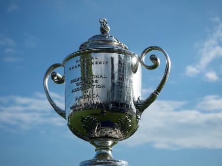 全米プロゴルフ選手権の優勝トロフィー(USA TODAY・ロイター=共同)
