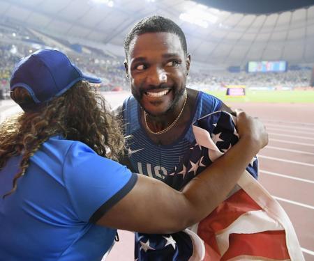 2019年9月、ドーハで行われた世界選手権で、笑顔を見せる米国のジャスティン・ガトリン(共同)