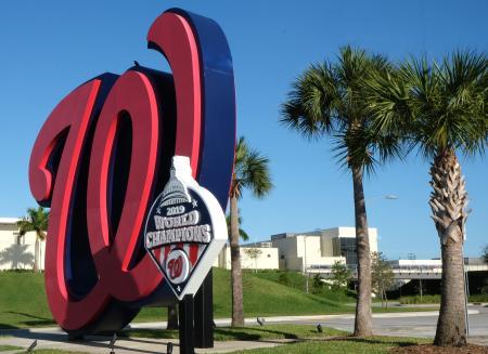 フロリダ州のナショナルズのキャンプ施設=12日、ウェストパームビーチ(UPI=共同)