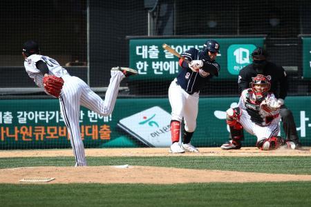 21日にソウルで行われたLG―斗山のオープン戦(ゲッティ=共同)
