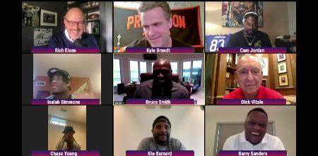 オンラインで行われたNFLのドラフト会議で話す選手や関係者=24日(NFL提供、AP=共同)
