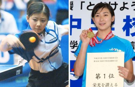 2002年の全国中学体育大会で卓球に出場した福原愛(左)と、2015年大会の競泳で2冠を達成した池江璃花子
