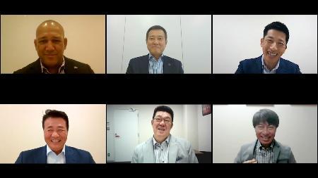 動画でファンにメッセージを送る、(上段左から)DeNA・ラミレス、巨人・原、阪神・矢野、(下段左から)中日・与田、広島・佐々岡、ヤクルト・高津のセ・リーグ6球団の監督