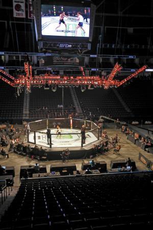 無観客で実施された総合格闘技団体「UFC」の試合=9日、ジャクソンビル(AP=共同)