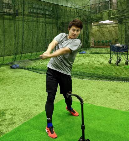 打撃練習するDeNAの佐野=横浜スタジアム(球団提供)
