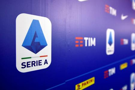 セリエAのロゴ=2019年12月、ミラノ(ロイター=共同)