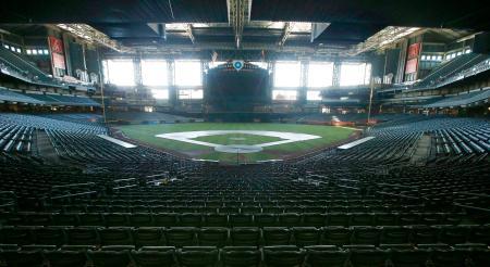 米大リーグ開幕を待つダイヤモンドバックスの本拠地チェース・フィールド=フェニックス(AP=共同)