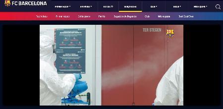 サッカーのスペイン1部リーグ、バルセロナが公式サイトに公開した練習拠点を消毒する映像