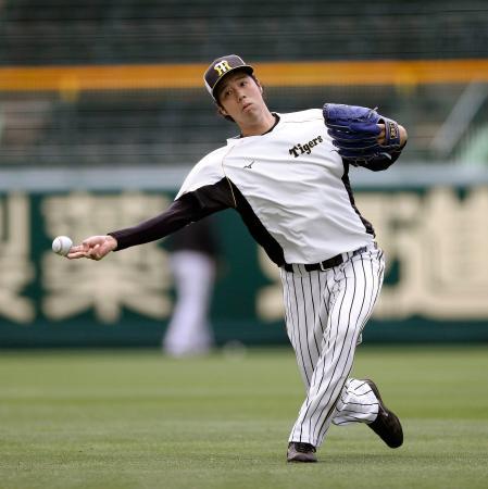キャッチボールする阪神・青柳=甲子園(球団提供)