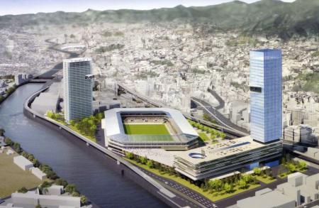 ジャパネットが2018年に発表した、新サッカー場(中央)などの開発構想図