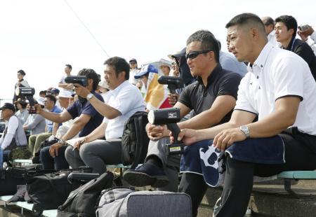2019年6月、岩手・大船渡高の佐々木朗希投手を視察するプロ野球のスカウトら=岩手県一関市