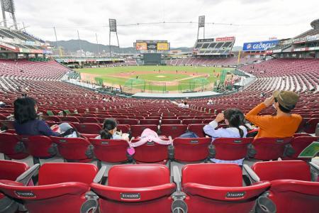 一般開放されたマツダスタジアムで広島の練習を見学するファン=21日、広島市