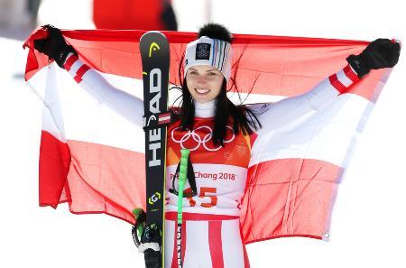 平昌五輪・女子スーパー大回転で銀メダルを獲得したアナ・ファイト