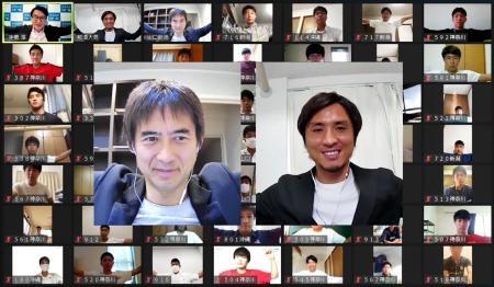 高校生向けのオンライン講義で、講師を務めたサッカー元日本代表の川口能活さん(中央左)と元五輪代表の那須大亮さん(同右)=27日